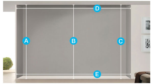 diagram showing how to measure a bi-fold door
