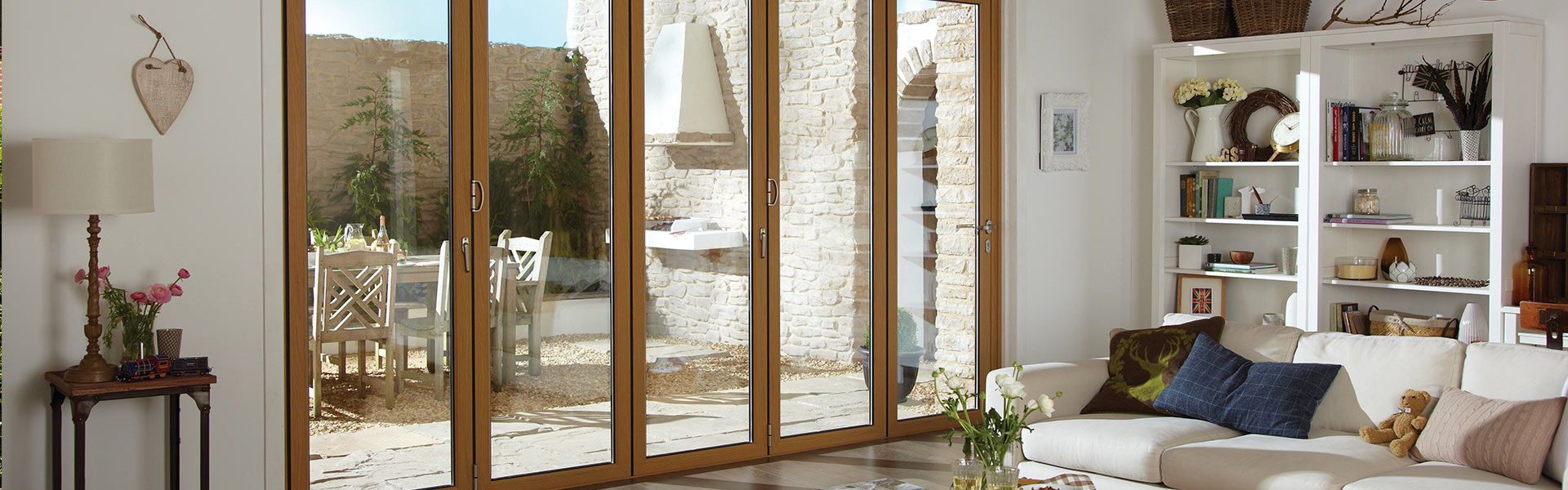 origin barn bi-folding doors wood effect