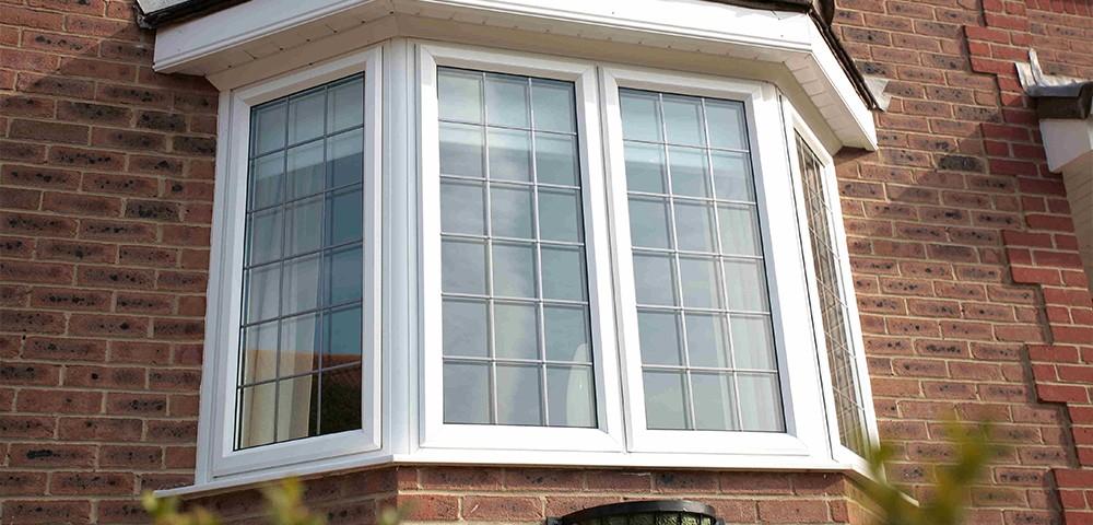 white aluminium bay window