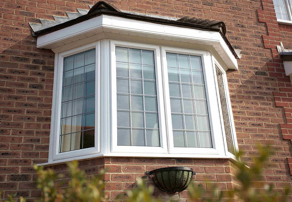white aluminium bay window
