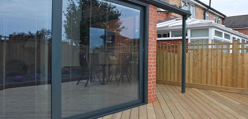 integral blinds in a sliding door