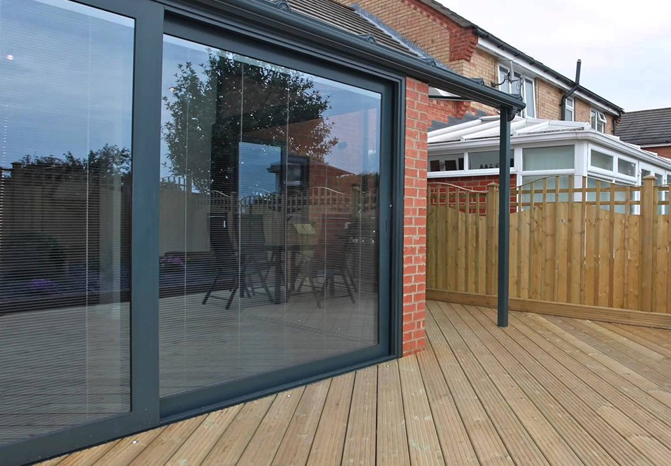 integral blinds in a sliding door