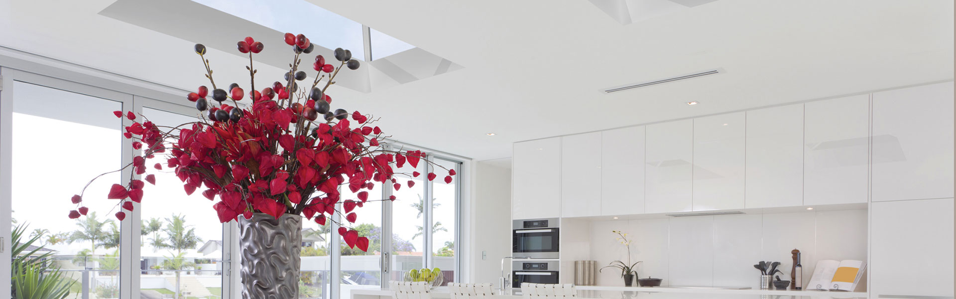 roof-light in a white kitchen