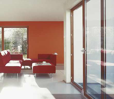 Red aluminium sliding door