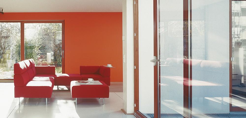 Red aluminium sliding doors