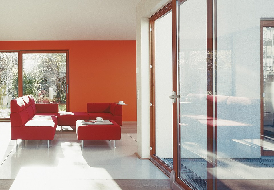 Red aluminium sliding doors