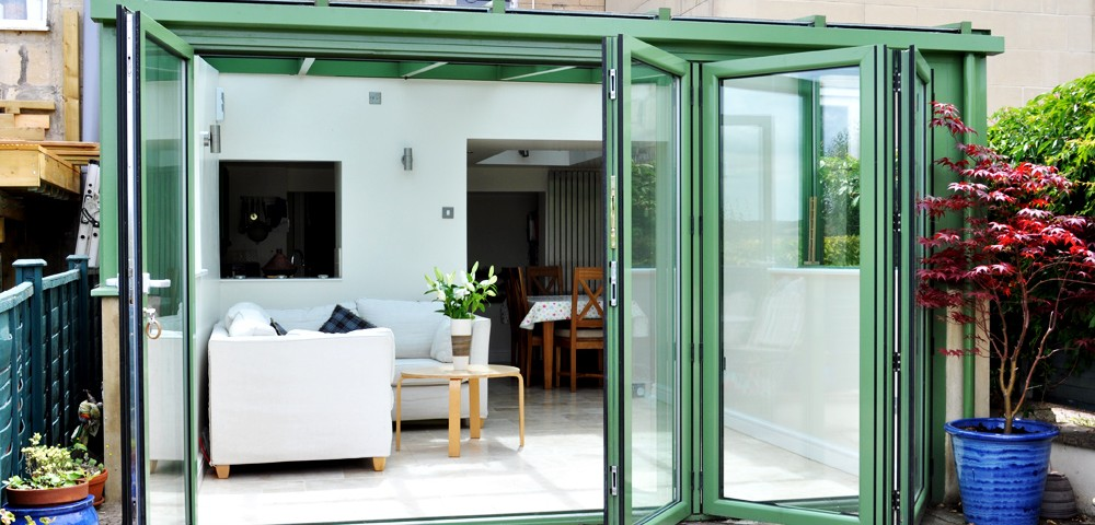Green Aluminium Bi-fold door