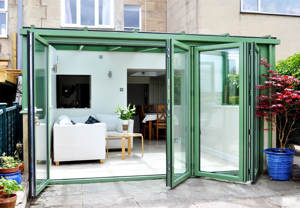 Green Aluminium Bi-fold door