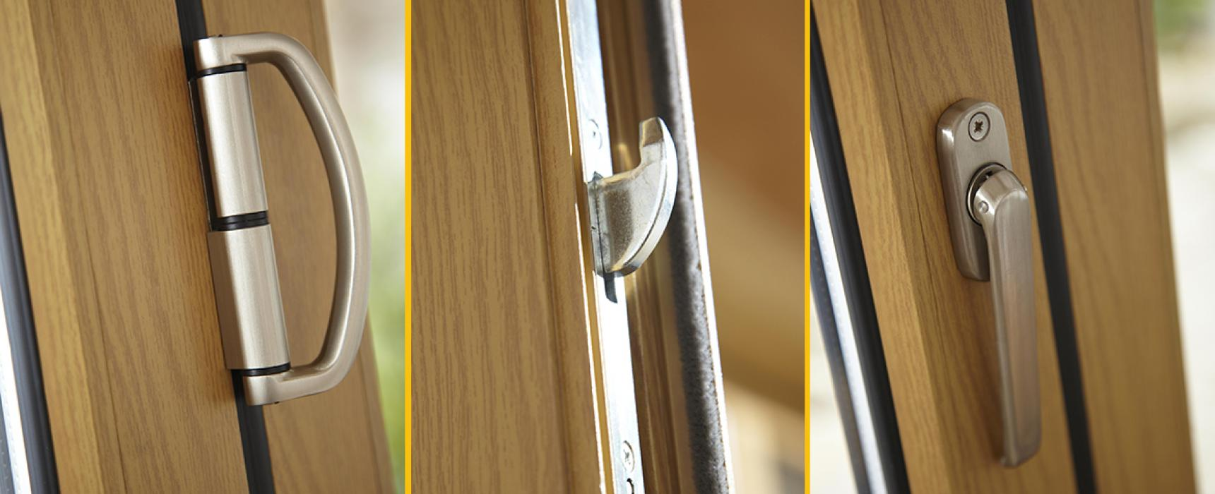 Origin hardware, handle, on a wood grain effect aluminium bi-folding door