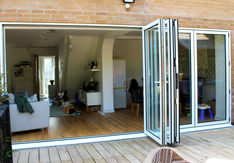 White bi-folding door in Queniborough Leicester