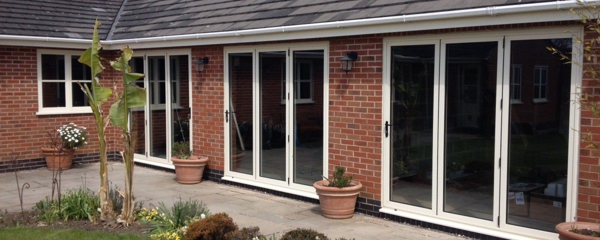 3 pane white bi folding doors